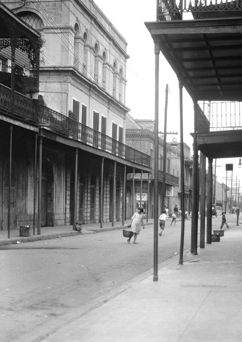 Looking down Royal Street at LaLaurie Mansion (middle left)