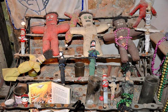 Voodoo dolls at the Voodoo Museum in New Orleans, Louisiana.