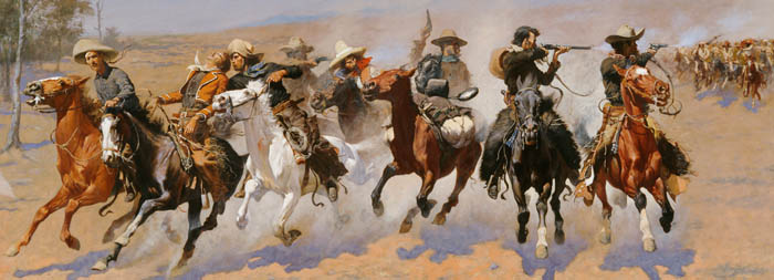 A dash for timber by Frederic Remington.
