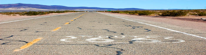 Route 66 east of Ludlow, California by Dave Alexander.