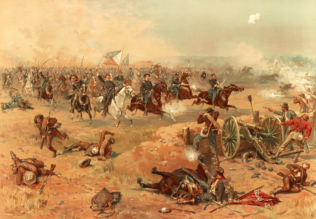 Sheridans Final Charge at Winchester, Virginia by Thure de Thulstrup, 1866.