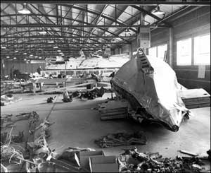Wreckage from Flight 629 in a warehouse