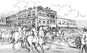 Harris House Hotel during the Battle of Westport, Missouri.