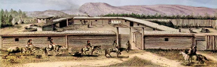 Fort Bridger, Wyoming, 1850, byMerrit Dana Houghton - colorized