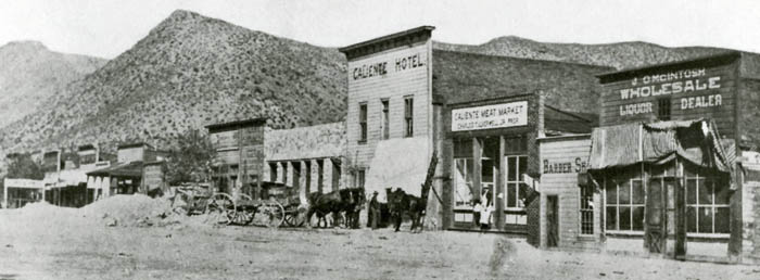 Business district in Caliente, Nevada, earlyl 1900s.