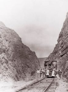 Steam engine in the narrow railroad gorge near Caliente, Nevada.
