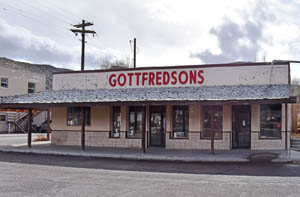 The John Miller buildings in Caliente, Nevada last served as Gotfredsons Store by Kathy Weiser-Alexander.