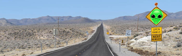 Extraterrstrial Highway by Kathy Weiser-Alexander (sign photoshopped.)