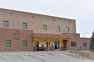 Government building at Ohkay Owingeh Pueblo, New Mexico by Kathy Weiser-Alexander.