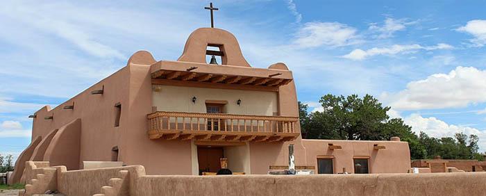 San Ildefonso Pueblo Mission, New Mexico, courtesy Wikimedia Commons.