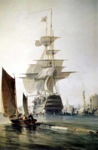 HMS Britannia, painting by George Hyde Chambers, 1834