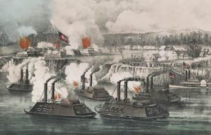 Bombardment and capture of Fort Hindman at Arkansas Post, Arkansas by Currier & Ives.