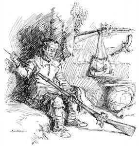 Daniel Boone at his cabin.