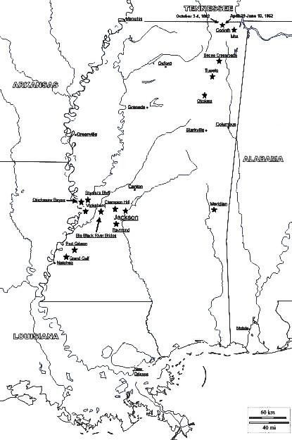 Mississippi Civil War Battles courtesy National Park Service.