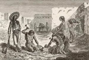 Apache prisoners forced into mining in Chihauhua, Mexico.