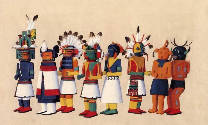 Hopi Kachina Dolls by Fred Kabotie, 1925.