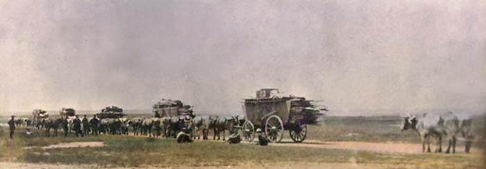 Bull train leaving Hays, Kansas on the Dodge City Trail.