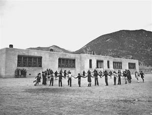 The elementary school in Questa, New Mexico was built by the Works Progress Administration during the Great Depression.