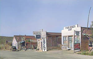 Questa, New Mexico Street by Russell Lee, 1939. Colorized by Kathy Weiser-Alexander.