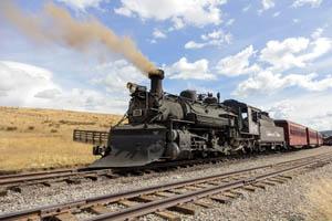 A Cumbres & Toltec Scenic Railroad steam train pulls into the tiny Osier, Colorado, by Carol Highsmith.